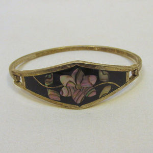 old Mexican silver hinge bracelet abalone inlay
